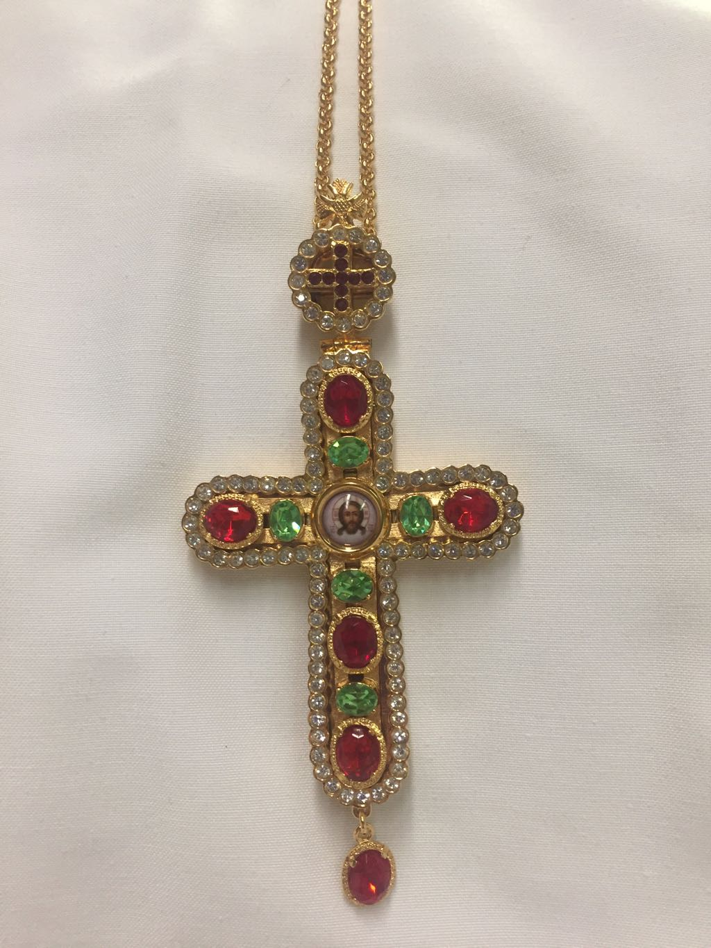 Pectoral Cross (red green ston