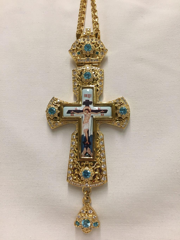 Pectoral Cross (Light blue Stones)