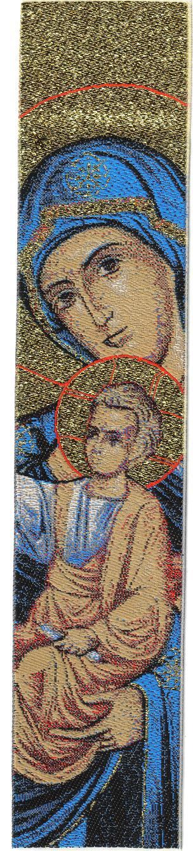 Woven Bookmark - Theotokos Blue