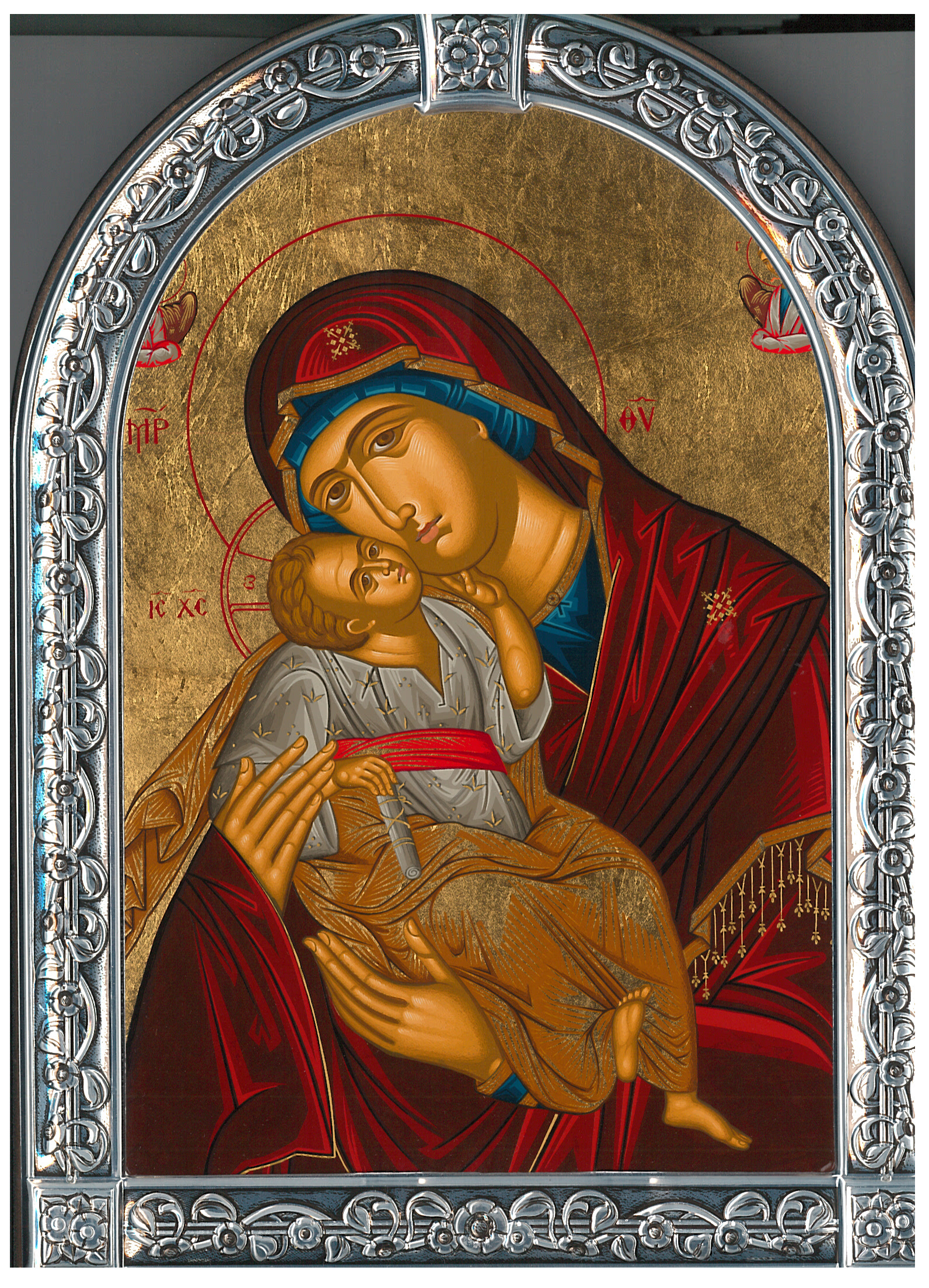 Icon-Rounded Silver Mary & Christ
