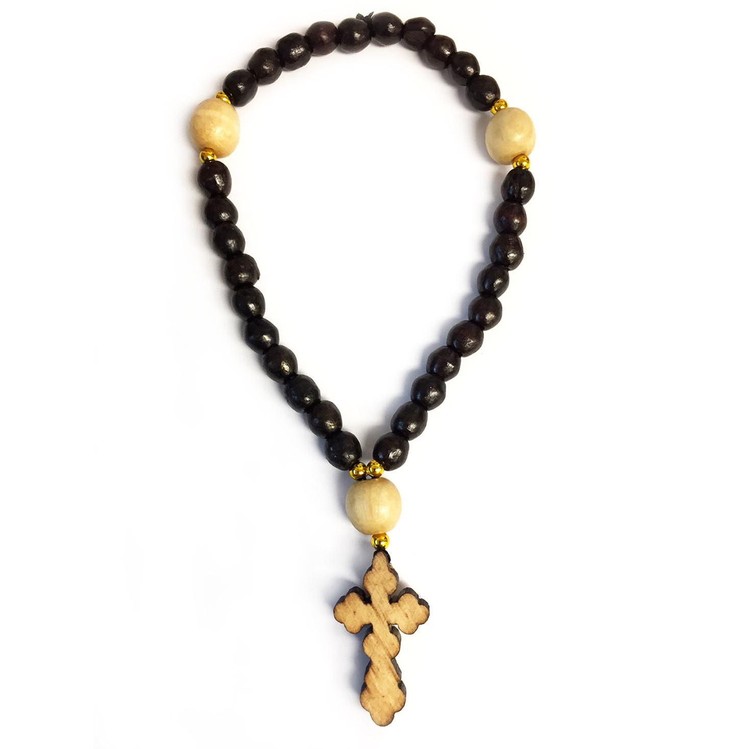 Wood Beads W/Cross